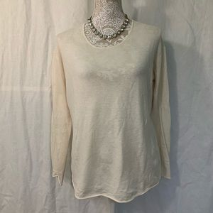 Orvis // Ivory Perforated Cashmere Blend Sweater L